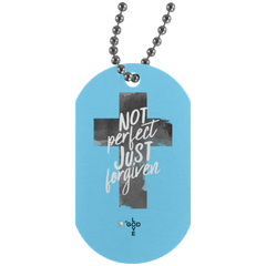 Not Perfect Just Forgiven Silver Dog Tag