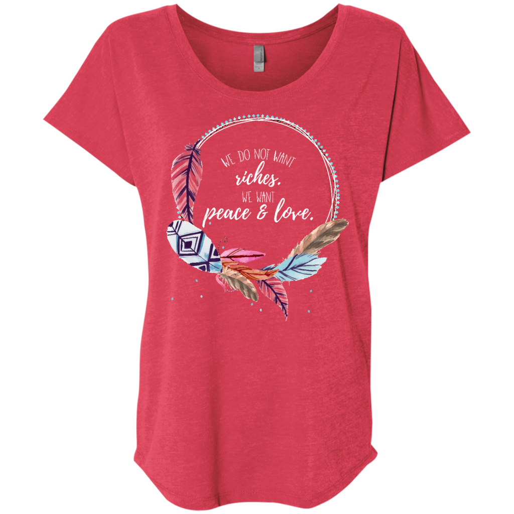 Peace and Love Ladies' Triblend Dolman Sleeve - Shop Love God