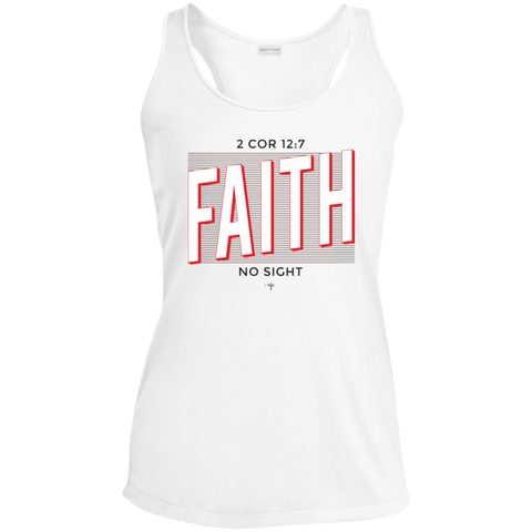 Faith No Sight Ladies' Racerback Moisture Wicking Tank - Shop Love God
