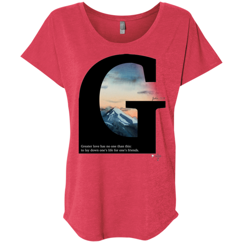 Greater Love Ladies' Triblend Dolman Sleeve - Shop Love God