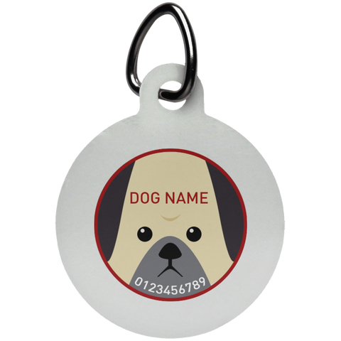 Personalized Bull Dog Face Pet Tag