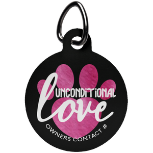Unconditional Love Pink Circle Pet Tag