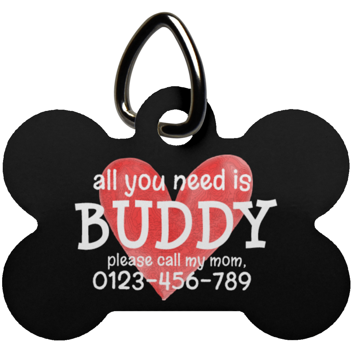 All You Need Is Love Bone Pet Tag (Dark) - Shop Love God