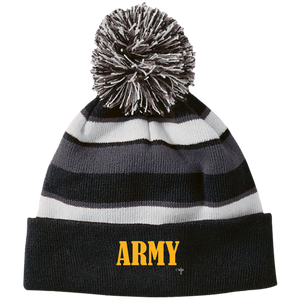 Army Holloway Striped Beanie with Pom - Shop Love God