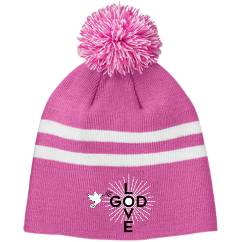 Love God Logo Striped Pom Beanie - Shop Love God