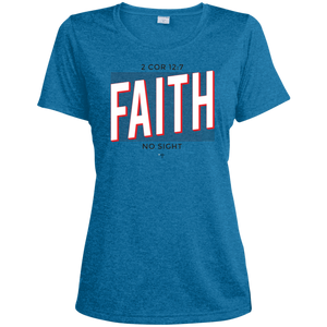 Faith No Sight Ladies' Heather Dri-Fit Moisture-Wicking T-Shirt - Shop Love God