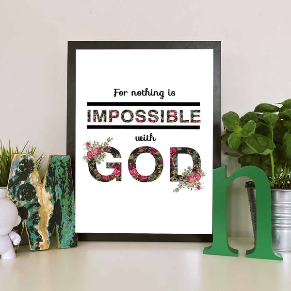 For Nothing Is Impossible With God Printable Digital Wall Art - Shop Love God