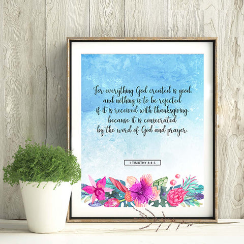 For Everything God Created Is Good Printable Digital Wall Art - Shop Love God