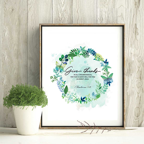 Give Thanks Printable Digital Wall Art - Shop Love God