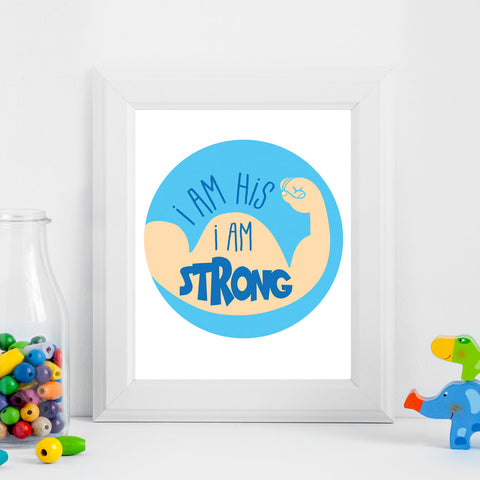 I Am Strong Printable Digital Wall Art - Shop Love God