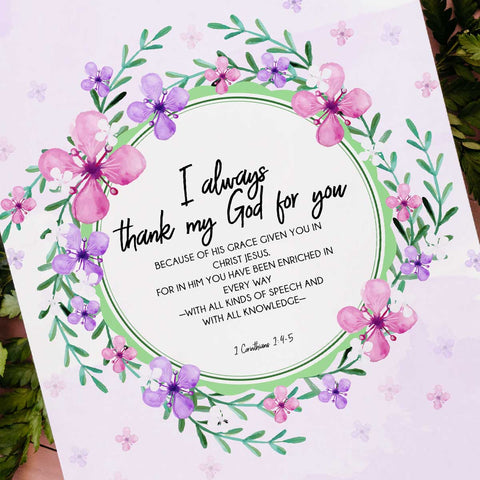 I Always Thank My God For You Printable Digital Wall Art - Shop Love God
