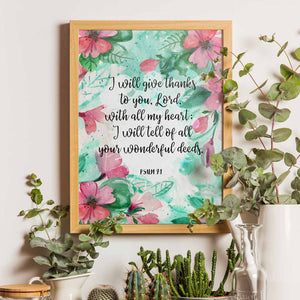 I Will Give Thanks Printable Digital Wall Art - Shop Love God