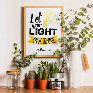 Let Your Light Shine Nursery Room Printable Digital Wall Art - Shop Love God