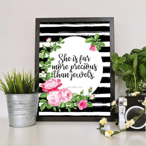 She Is Far More Precious Printable Digital Wall Art - Shop Love God