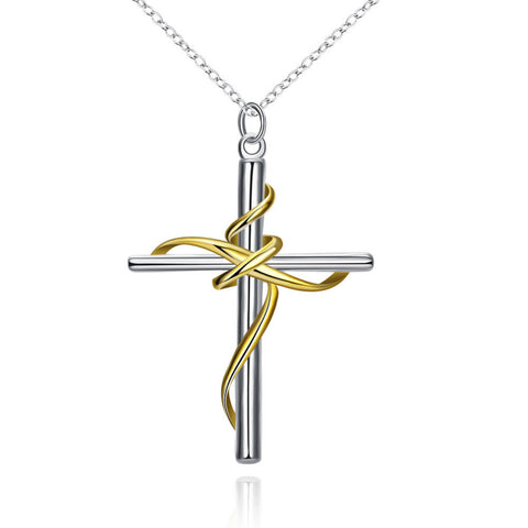 Women's Stylish Two-Tone Crucifix Necklace - Shop Love God
