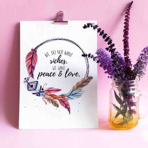 We Want Peace And Love Printable Digital Wall Art - Shop Love God