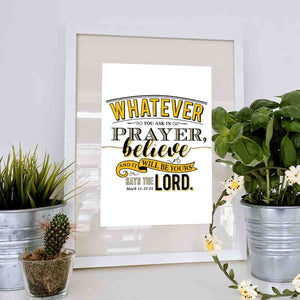 Whatever You Ask In Prayer Printable Digital Wall Art - Shop Love God