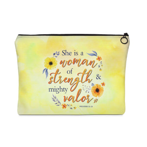 Woman of Strength & Valor Carry All Pouch - Flat - Shop Love God