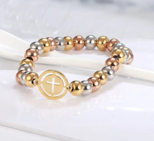 Cross Pendant Stainless Steel Bead Bracelet - Shop Love God