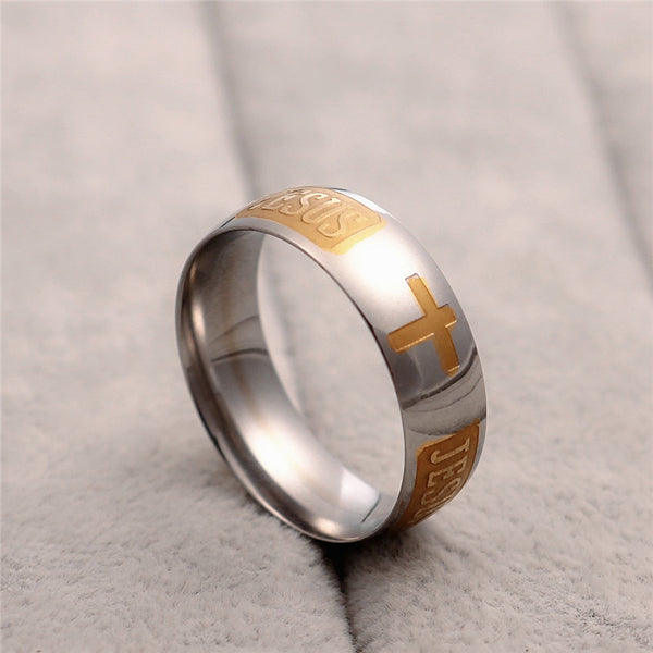 Titanium Steel Silver Plated Christian Jesus Cross Ring