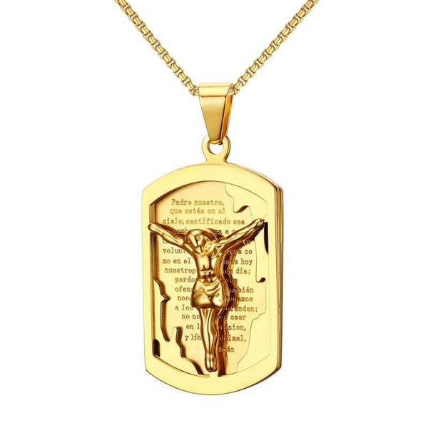 Jesus Cross on a Spanish Bible Verse Gold Color Pendant Necklace