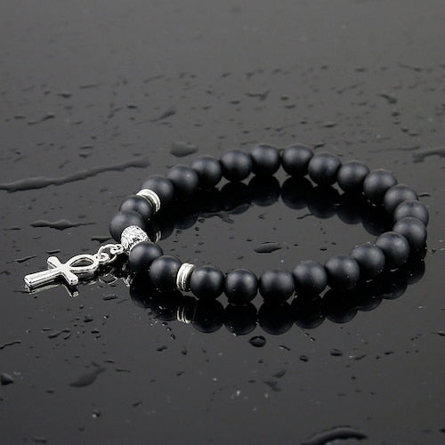 Cross Pendant Natural Onyx Stone Bracelet - Shop Love God