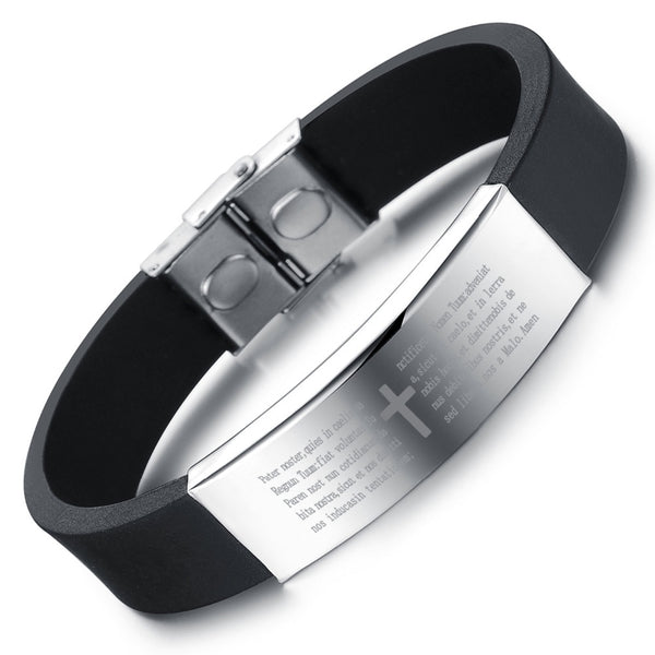Cross and Prayer Engraved Plate Silicone Bangle - Shop Love God