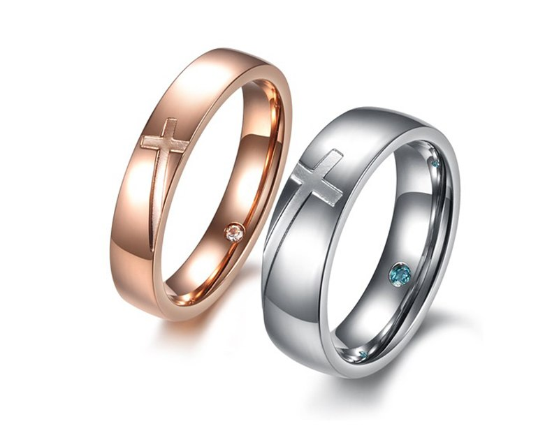 Cross Design Couple Ring - Shop Love God