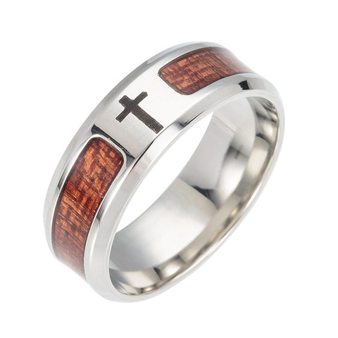 Unique Stainless Cross Ring With Wood Design Ring