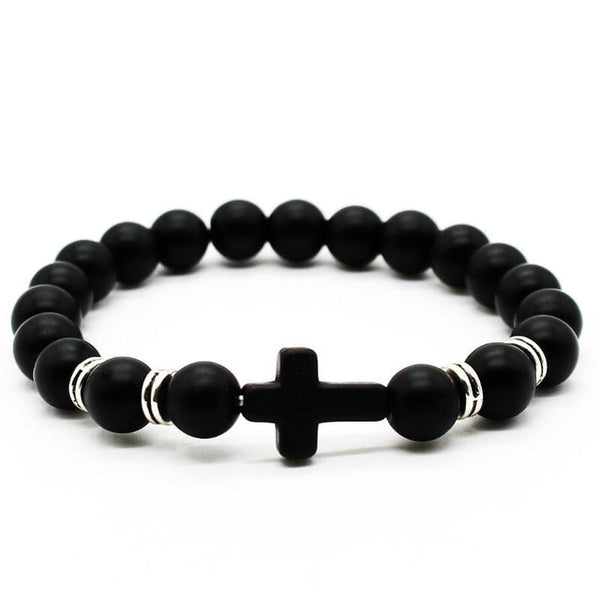 Elegant Men's Cross Stone Bead Bracelet - Shop Love God