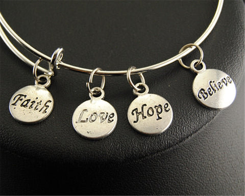 Faith Love Hope Believe Bangle Bracelet - Shop Love God