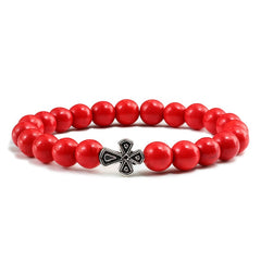 Natural Frosted Matte Stone Beads Cross Men's Bracelet