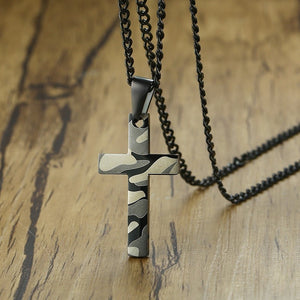 Camouflage Print Cross Pendant Necklace - Shop Love God
