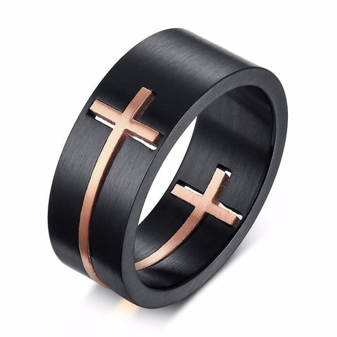 Cut-Out Two-Tone Stainless Steel Cross Ring - Shop Love God