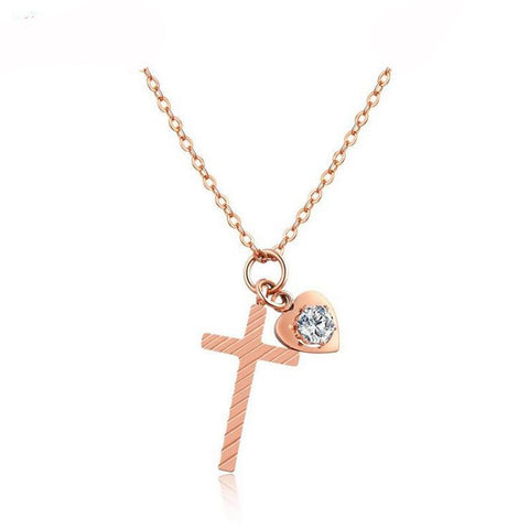 Heart and Cross Rose Gold Color Necklace - Shop Love God