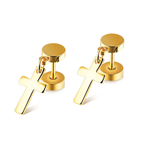 Danging Cross Stud Earrings - Shop Love God