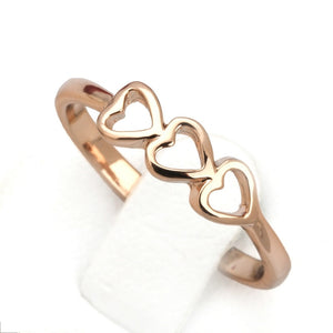 Classic 3 Hearts Rose Gold Ring - Shop Love God