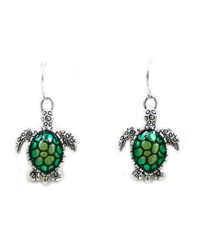 Silver and Green Sea Turtle Earrings