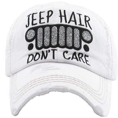 Jeep Hair Don't Care Distressed Cap,Caps