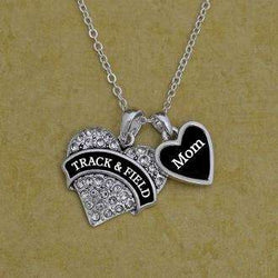 Track and Field Mom Heart Necklace