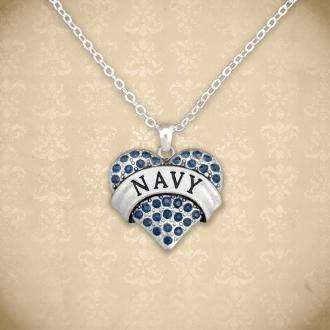 Navy Rhinestone Heart Necklace