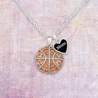 Basketball Mom Rhinestone Necklace with Two Charms