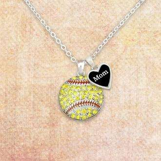 Softball Mom Rhinestone Necklace with Two Charms,Necklaces