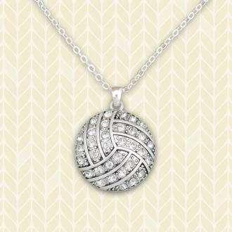 Volleyball Rhinestone Necklace,Necklaces