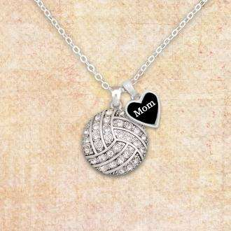 Volleyball Mom Necklace with Two Charms