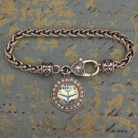 Air Force Charm Bracelet with Plane