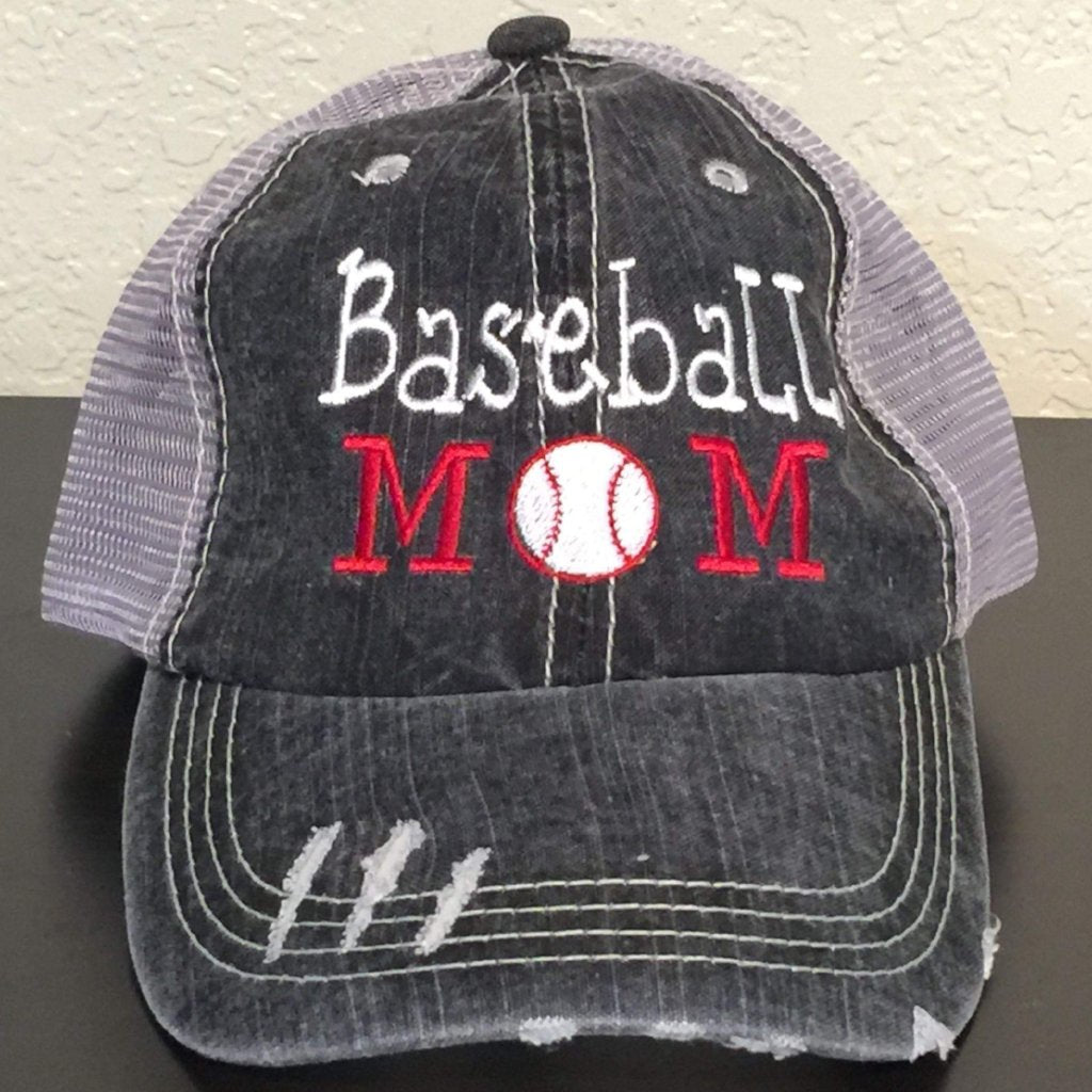 Baseball Mom Distressed Trucked Cap,Caps