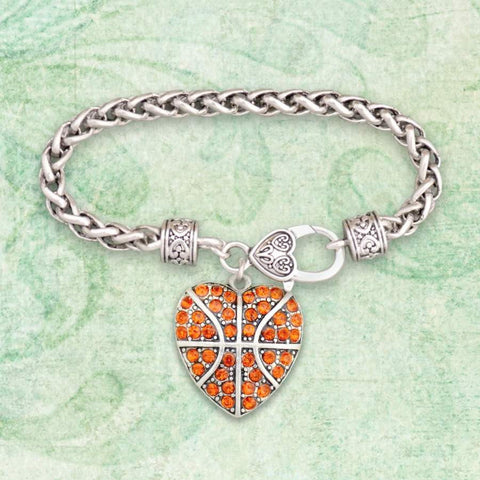 Basketball Heart Shaped Rhinestone Charm Bracelet