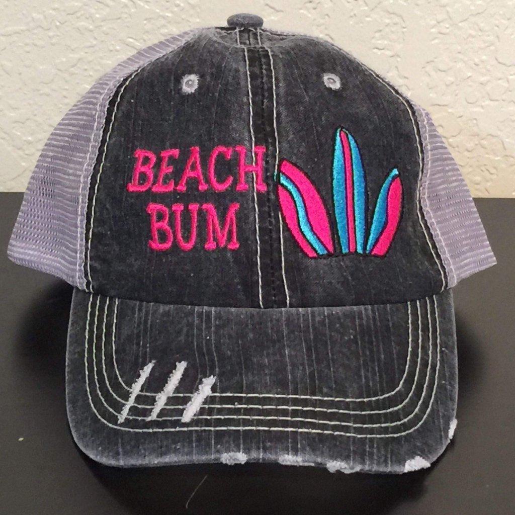 Beach Bum Embroidered Distressed Trucker Cap