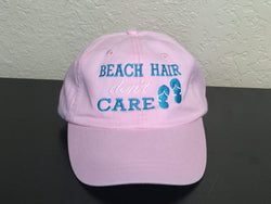 Beach Hair Don't Care with Flip Flops Embroidered Baseball Cap